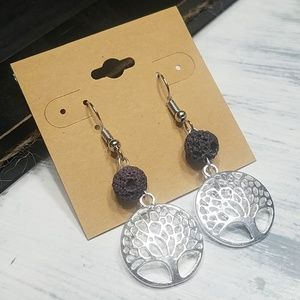Amethyst lava bead silvertone tree of life earring